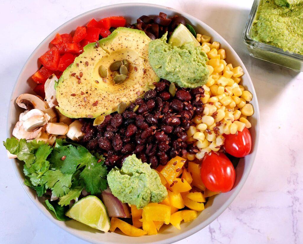 vegan cilantro lime crema, plant based cilantro lime crema, taco tuesday recipe, southwest recipe, raw cashews, cilantro recipe, kid friendly vegan recipe, vegan salad dressing, plant based salad dressing, vegan dip, plant based dip, oil free dressing, dairy free dressing, plant based sauce, vegan dish, plant based dish, healthy vegan recipe, healthy plant based recipe, vegan power bowl recipe, vegan burrito bowl recipe, coriander, healthy salad dressing, vitamix, vitamix venturist V1200, vitamix blender