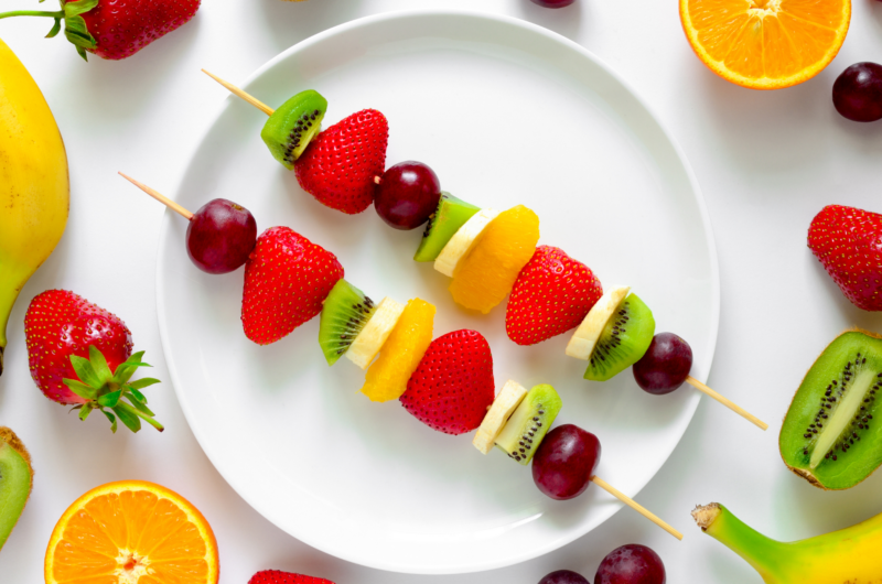 Vegan and Plant Based Fruit Kabobs-Healthy Snacks